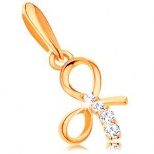 Šperky eshop - Prívesok zo žltého 14K zlata - lesklá uviazaná mašlička, línia čírych zirkónov GG117.13