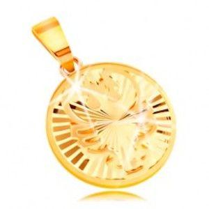 Šperky eshop - Prívesok zo žltého 14K zlata - lesklý kruh s lúčovitými zárezmi - RAK GG211.37