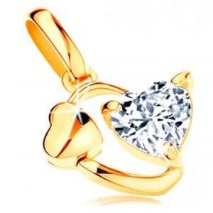 Šperky eshop - Prívesok zo žltého 14K zlata - obrys oválu so srdiečkom a čírym zirkónom GG119.13