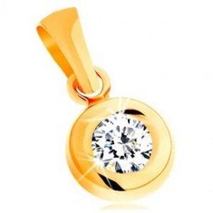 Šperky eshop - Prívesok zo žltého 14K zlata - okrúhly číry zirkón v lesklej zaoblenej objímke GG144.13