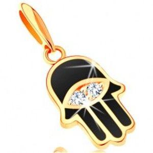 Šperky eshop - Prívesok zo žltého 14K zlata - ruka Fatimy pokrytá čiernou glazúrou, oko GG121.07