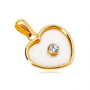 Šperky eshop - Prívesok zo žltého 14K zlata - srdce s perleťou a čírym zirkónom v strede GG18.12