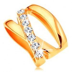Šperky eshop - Prívesok zo žltého 14K zlata - tri prekrížené úzke línie, drobné číre zirkóny GG122.05
