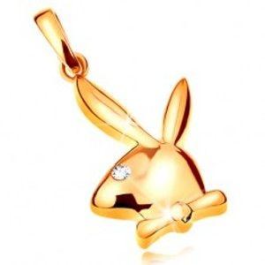 Šperky eshop - Prívesok zo žltého 14K zlata, lesklá hlava zajačika Playboy, zirkónové očko GG195.33