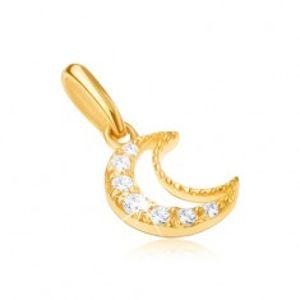 Šperky eshop - Prívesok zo žltého 9K zlata - obrys kosáčika mesiaca, číre kamienky GG31.25