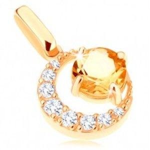 Šperky eshop - Prívesok zo žltého 9K zlata - zirkónový kosák mesiaca, okrúhly žltý citrín GG64.24
