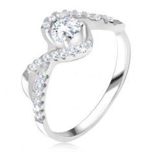 Šperky eshop - Prsteň s čírym kamienkom, zatočené línie, zirkónové ramená, striebro 925 T22.10 - Veľkosť: 57 mm