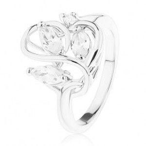Šperky eshop - Prsteň s lesklými ramenami, zvlnené prepletené línie, zirkóny čírej farby R40.30 - Veľkosť: 50 mm