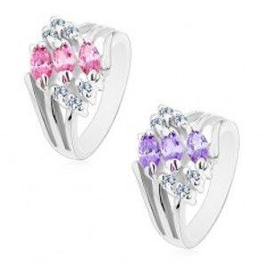 Šperky eshop - Prsteň s rozvetvenými ramenami, zdobený čírymi zirkónmi a farebnými zrnkami M06.25 - Veľkosť: 49 mm, Farba: Ružová
