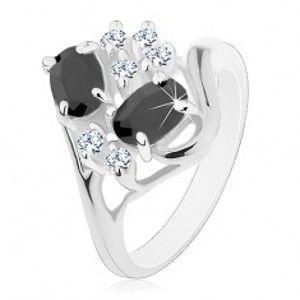 Šperky eshop - Prsteň striebornej farby, rozdelené ramená, čierne ovály, číre zirkóniky S17.06 - Veľkosť: 49 mm