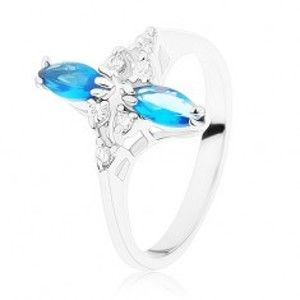 Šperky eshop - Prsteň v striebornom odtieni, lesklé zvlnené ramená, modré a číre zirkóny R39.30 - Veľkosť: 51 mm