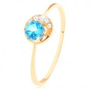 Šperky eshop - Prsteň v žltom 14K zlate - malý ligotavý polmesiačik, okrúhly topás GG91.18/56/61 - Veľkosť: 52 mm