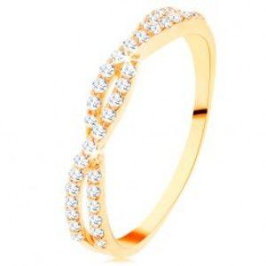 Šperky eshop - Prsteň v žltom 14K zlate - prepletené zirkónové vlnky, drobné číre zirkóniky GG110.48/54 - Veľkosť: 52 mm