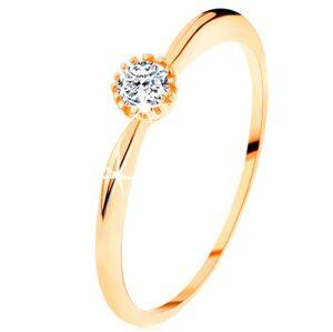 Prsteň v žltom 14K zlate - trblietavý číry zirkón, ramená s vypuklým povrchom - Veľkosť: 56 mm