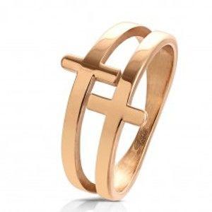 Šperky eshop - Prsteň z chirurgickej ocele medenej farby, lesklý zdvojený kríž M11.01 - Veľkosť: 60 mm