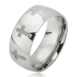 Šperky eshop - Prsteň z ocele - lesklá obrúčka striebornej farby, matný latinský kríž BB10.01 - Veľkosť: 65 mm