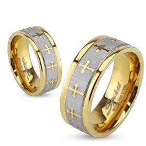 Šperky eshop - Prsteň z ocele zlatej farby, saténový pás striebornej farby, jetelové kríže BB13.09 - Veľkosť: 62 mm