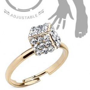 Šperky eshop - Prsteň zlatej farby na ruku alebo nohu, kocka vykladaná čírymi zirkónmi SP52.21 - Veľkosť: 51 mm