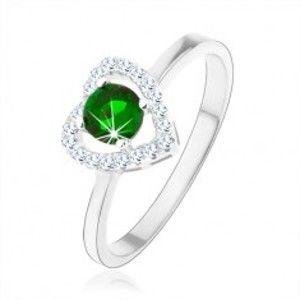 Šperky eshop - Prsteň zo striebra 925, ligotavá kontúra srdca, zelený okrúhly zirkón HH2.9 - Veľkosť: 50 mm