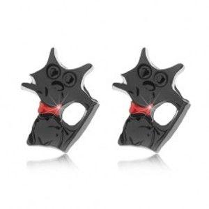 Šperky eshop - Puzetové náušnice, lesklá čierna mačka s červeným obojkom Z04.05