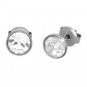 Šperky eshop - Puzetové náušnice, oceľ 316L, strieborný odtieň, priehľadný zirkón, 7 mm U28.09