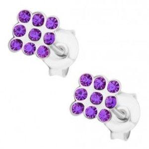 Šperky eshop - Puzetové náušnice, striebro 925, drobné fialové krištáliky Swarovski - štvorec I34.25