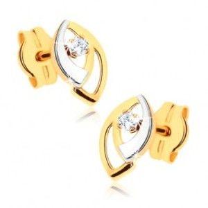 Šperky eshop - Puzetové náušnice v 9K zlate - dvojfarebné obrysy zrniečok, číry zirkónik GG41.02