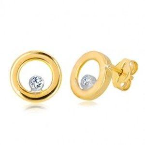 Šperky eshop - Puzetové náušnice v bielom a žltom zlate 585 - lesklý kruh so zirkónom GG36.31
