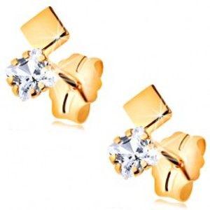 Šperky eshop - Puzetové náušnice v žltom 14K zlate - zirkónový a hladký štvorček GG188.12