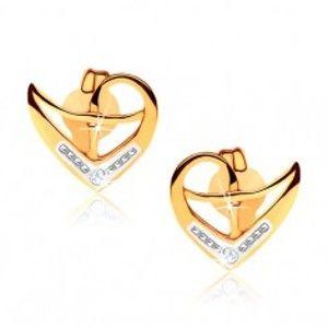 Šperky eshop - Puzetové náušnice z 9K zlata, obrys nepravidelného srdca, dvojfarebné GG57.11