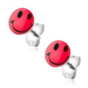 Šperky eshop - Puzetové náušnice z chirurgickej ocele, červený smajlík S51.17