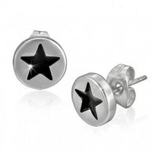 Šperky eshop - Puzetové náušnice z ocele - čierna hviezda v kruhu AA39.13