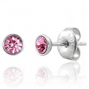 Šperky eshop - Puzetové náušnice z ocele 316L - svetloružový zirkón v objímke SP42.14