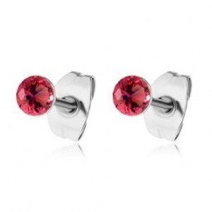 Šperky eshop - Puzetové náušnice z ocele 316L, červené okrúhle zirkóny v lesklej objímke SP58.31