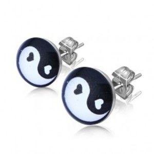 Šperky eshop - Puzetové náušnice z ocele, čiernobiely symbol Jing a Jang v krúžku SP49.19