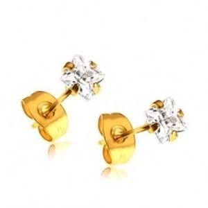 Šperky eshop - Puzetové náušnice zlatej farby z ocele 316L, číre zirkónové štvorčeky SP42.20