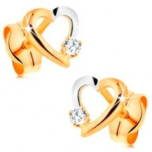Šperky eshop - Puzetové náušnice zo 14K zlata - dvojfarebný obrys srdiečka s drobným zirkónom GG164.07