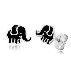 Šperky eshop - Puzetové náušnice zo striebra 925 - sloník s glazúrou v čiernom odtieni S39.28