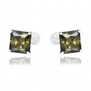 Šperky eshop - Puzetové náušnice zo striebra 925 - tmavozelené zirkóny v tvare štvorca, 7 mm Z14.3