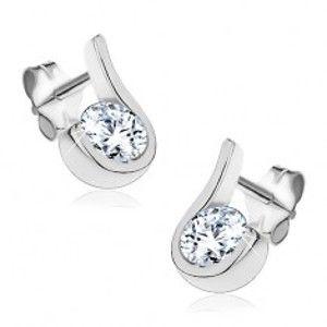 Šperky eshop - Puzetové náušnice zo striebra 925 - zirkónik obtočený zvlneným pásom X23.10