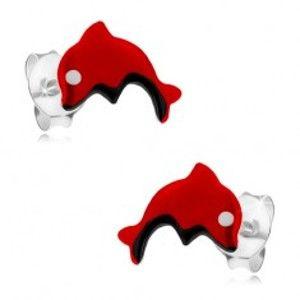 Šperky eshop - Puzetové náušnice zo striebra 925, červený skáčuci delfínik, glazúra I23.20