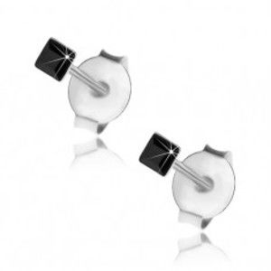 Šperky eshop - Puzetové náušnice zo striebra 925, čierny Swarovského krištálik - štvorček, 2 mm I30.17