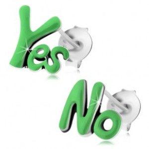 Šperky eshop - Puzetové náušnice zo striebra 925, patinované slová Yes a No, zelená glazúra I24.04