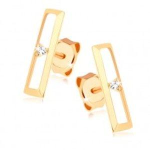 Šperky eshop - Puzetové náušnice zo zlata 375 - lesklý obrys obdĺžnika, číry zirkónik GG66.03