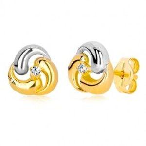 Šperky eshop - Puzetové náušnice zo zlata 585 - dvojfarebný kvet, tri zaoblené kvapky GG36.28