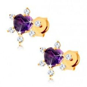Šperky eshop - Puzetové náušnice zo žltého 14K zlata - fialové srdiečko z ametystu, zirkóniky GG88.17