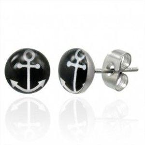 Šperky eshop - Puzetové oceľové náušnice s bielym symbolom kotvy na čiernom kruhu G5.26