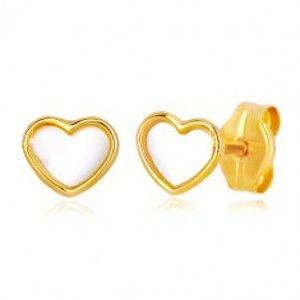 Šperky eshop - Puzetové zlaté 14K náušnice srdcového tvaru s prírodnou perleťou GG36.18