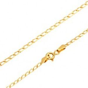 Šperky eshop - Retiazka v žltom 14K zlate - lesklé ploché oválne očká, 445 mm GG170.02