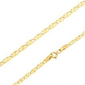 Šperky eshop - Retiazka v žltom 14K zlate - ploché podlhovasté články, lúčovité ryhy, 550 mm GG27.11